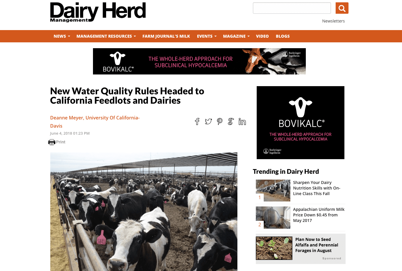 New California Dairy Water Quality Requirements